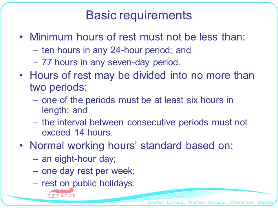 Basic requirements Minimum hours of rest must not be less than: