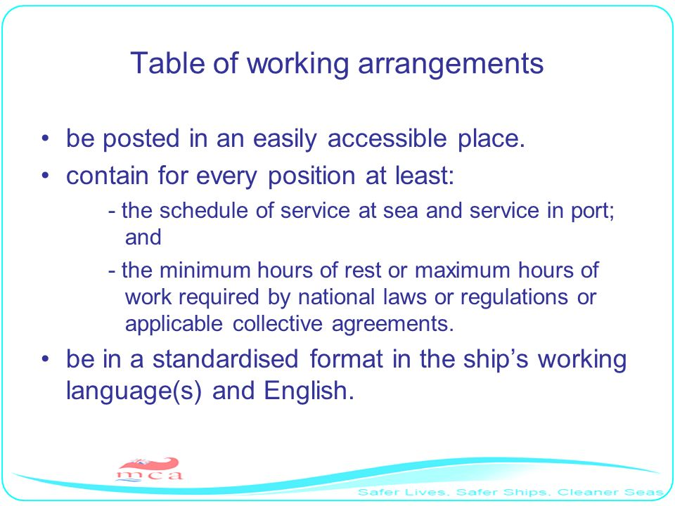 Table of working arrangements
