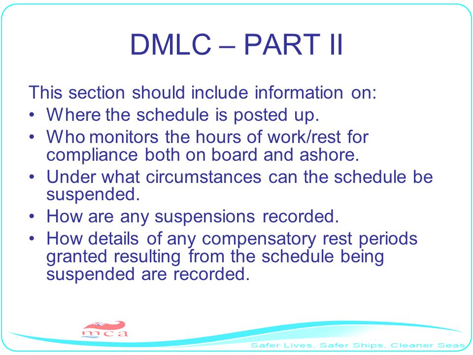 DMLC – PART II This section should include information on: