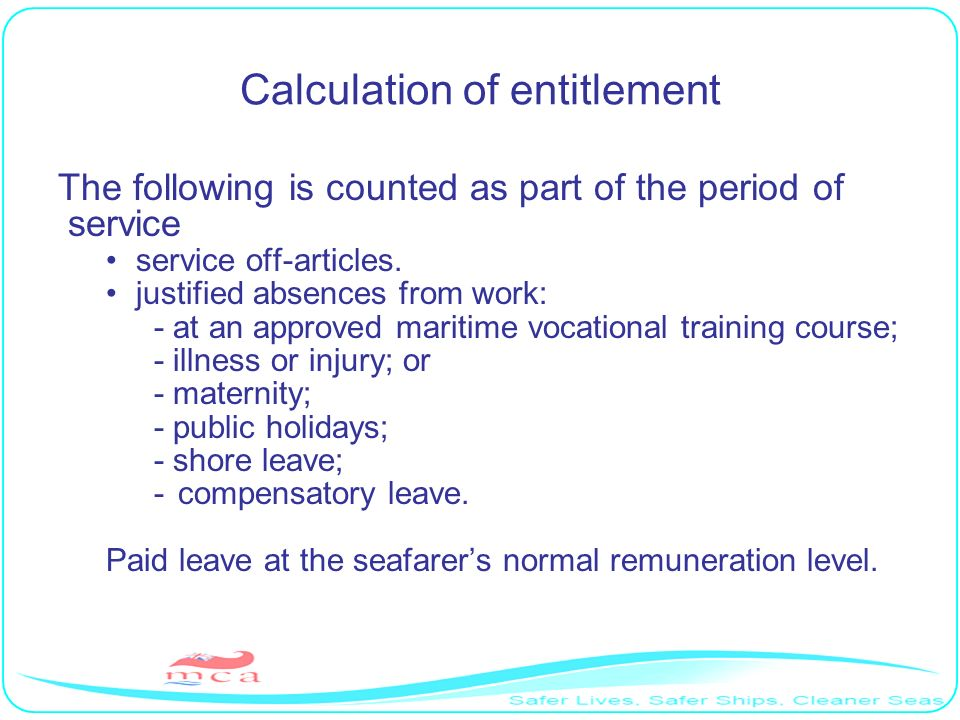 Calculation of entitlement