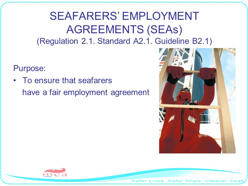 SEAFARERS' EMPLOYMENT AGREEMENTS (SEAs) (Regulation 2. 1. Standard A2