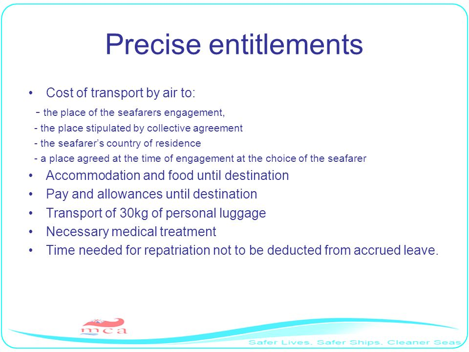 Precise entitlements Cost of transport by air to: