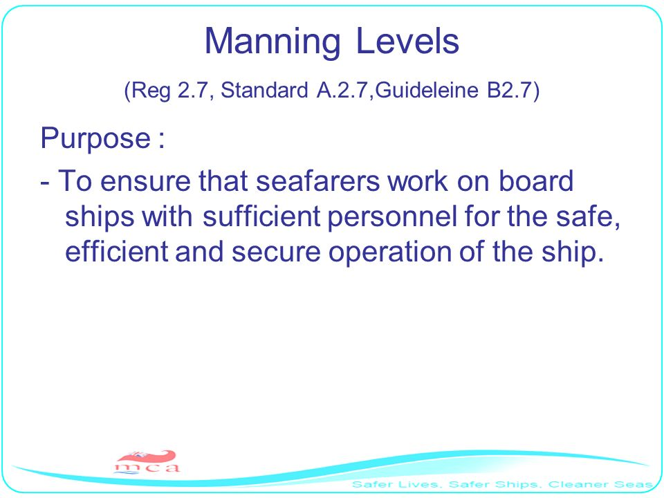 Manning Levels (Reg 2.7, Standard A.2.7,Guideleine B2.7)