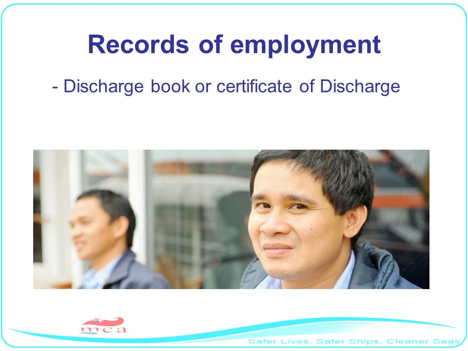 Records of employment - Discharge book or certificate of Discharge RP