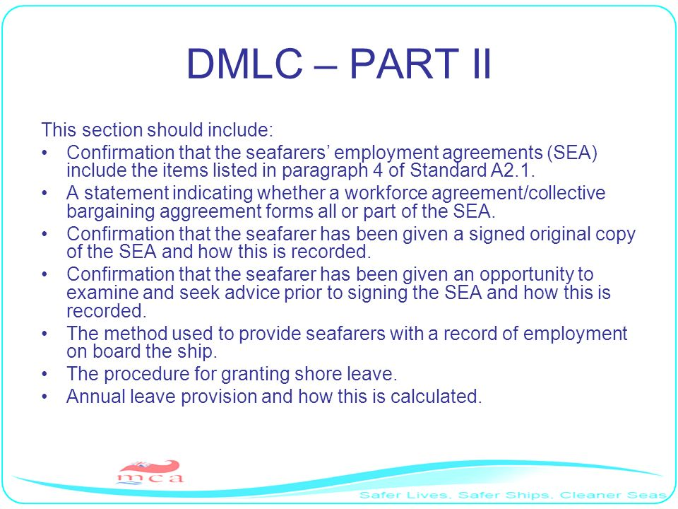 DMLC – PART II This section should include: