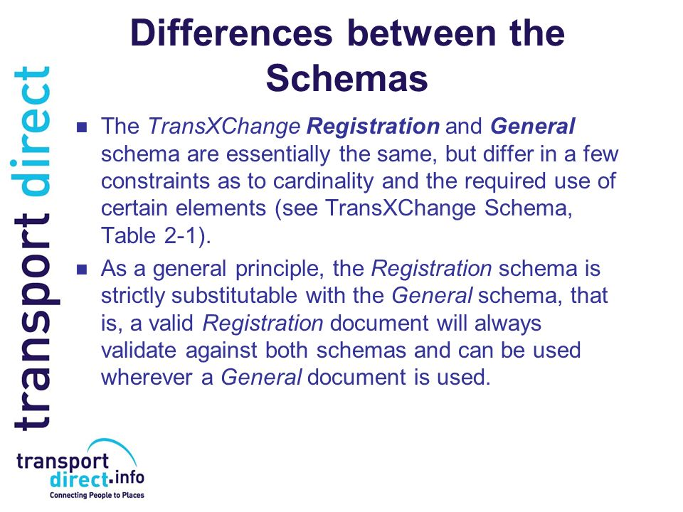Differences between the Schemas