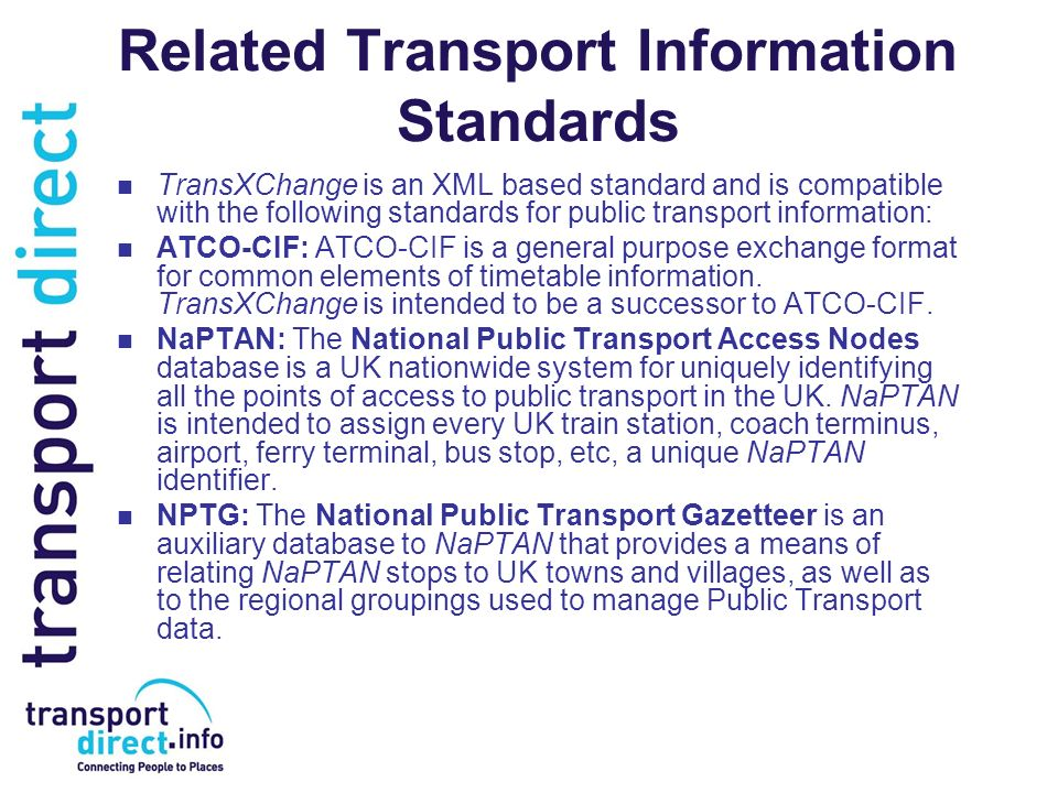 Related Transport Information Standards