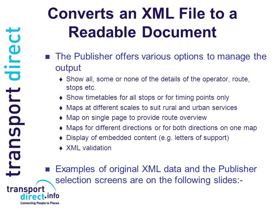 Converts an XML File to a Readable Document