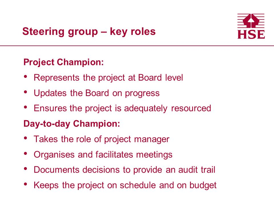 Steering group – key roles