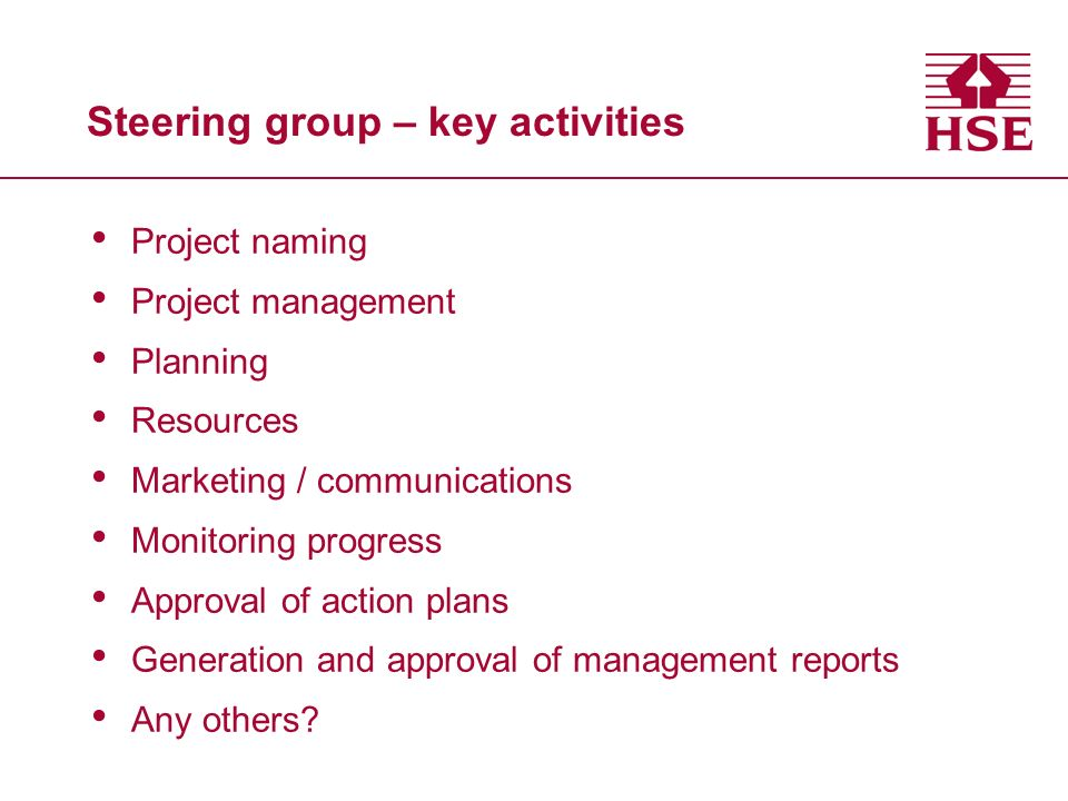Steering group – key activities