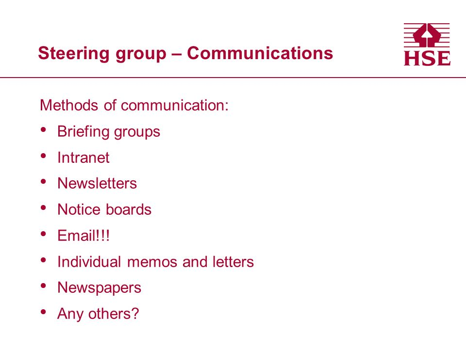 Steering group – Communications