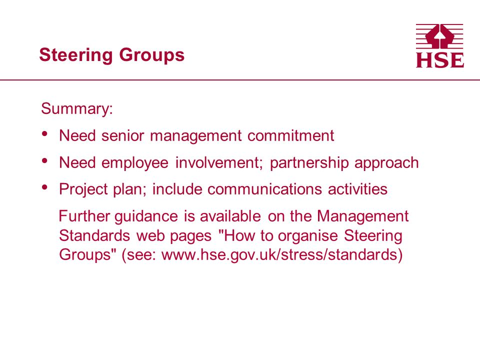 Steering Groups Summary: Need senior management commitment