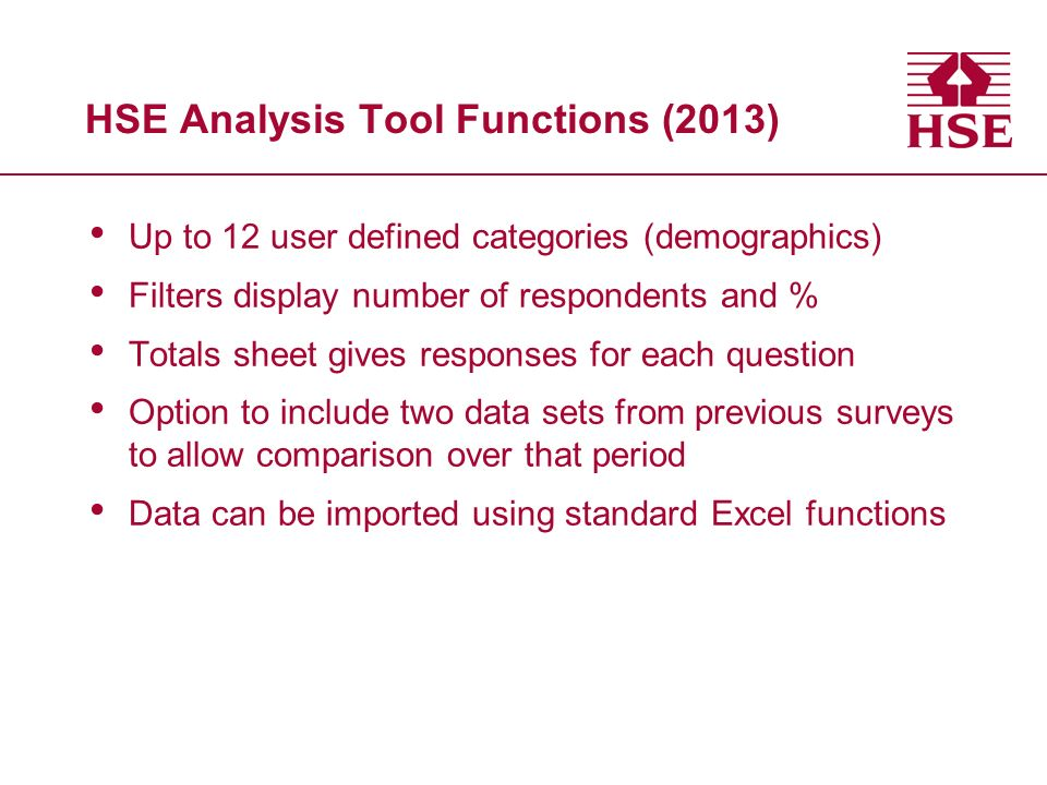HSE Analysis Tool Functions (2013)