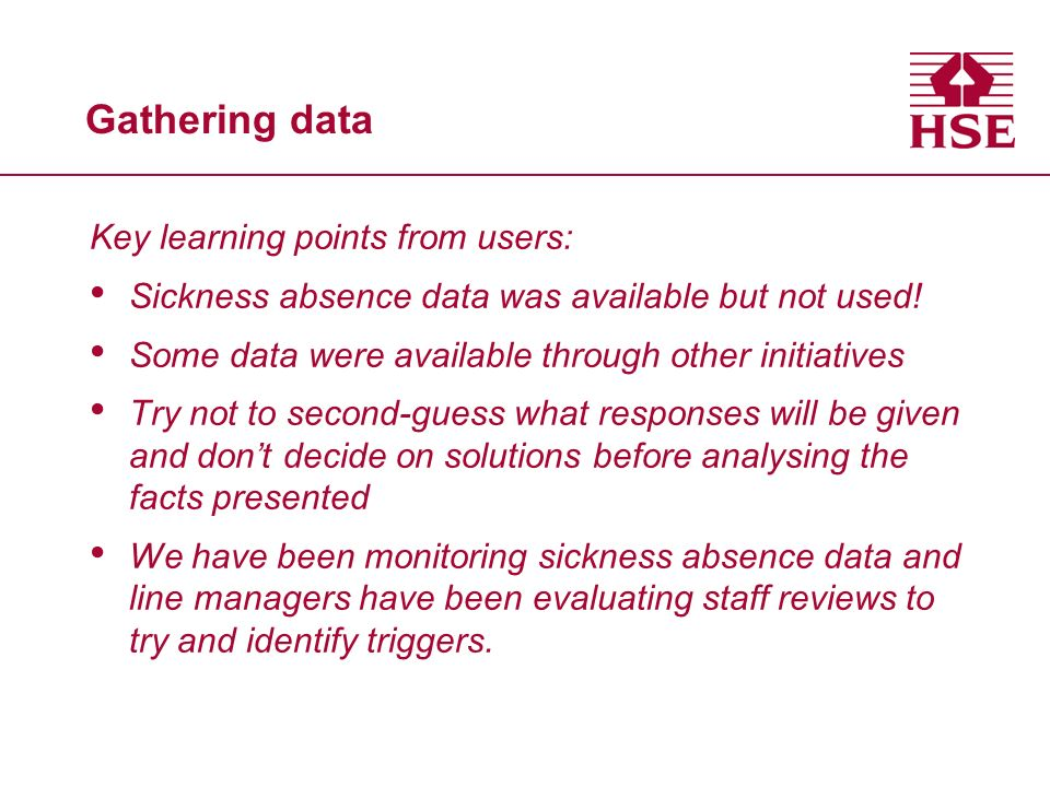 Gathering data Key learning points from users: