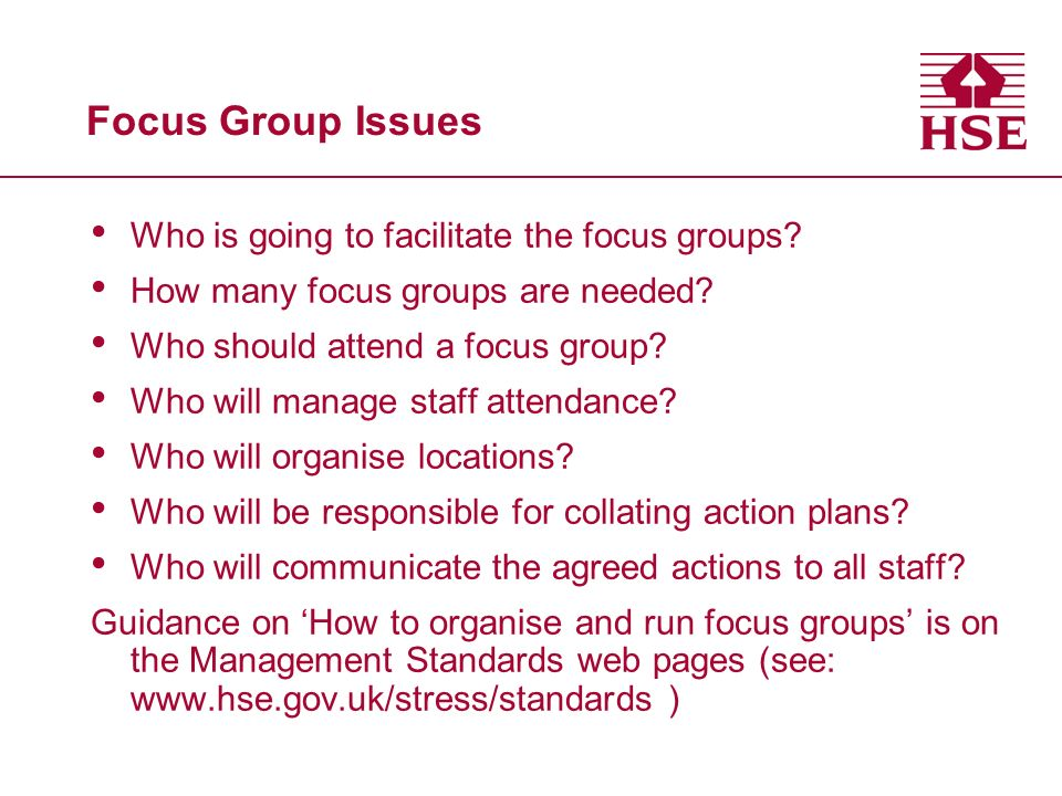 Focus Group Issues Who is going to facilitate the focus groups