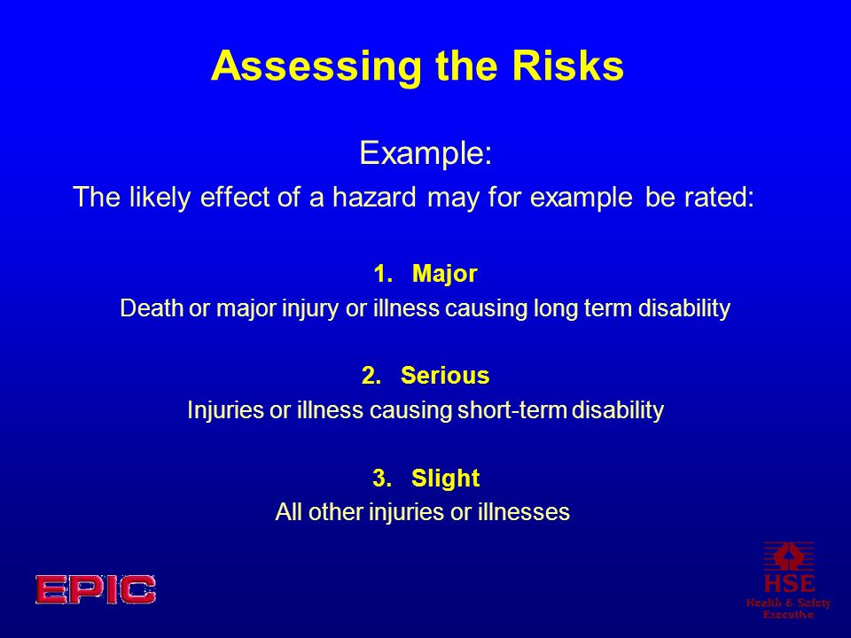 Assessing the Risks Example: