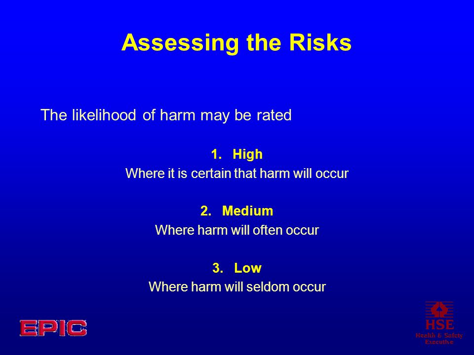 Assessing the Risks The likelihood of harm may be rated 1. High