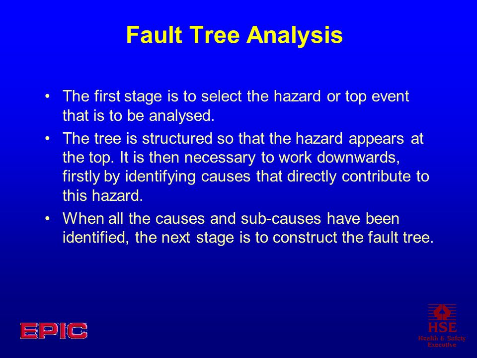 Fault Tree Analysis The first stage is to select the hazard or top event that is to be analysed.