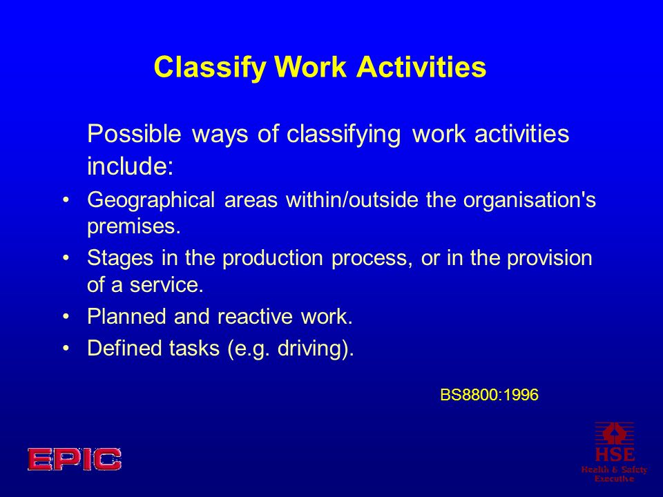 Classify Work Activities