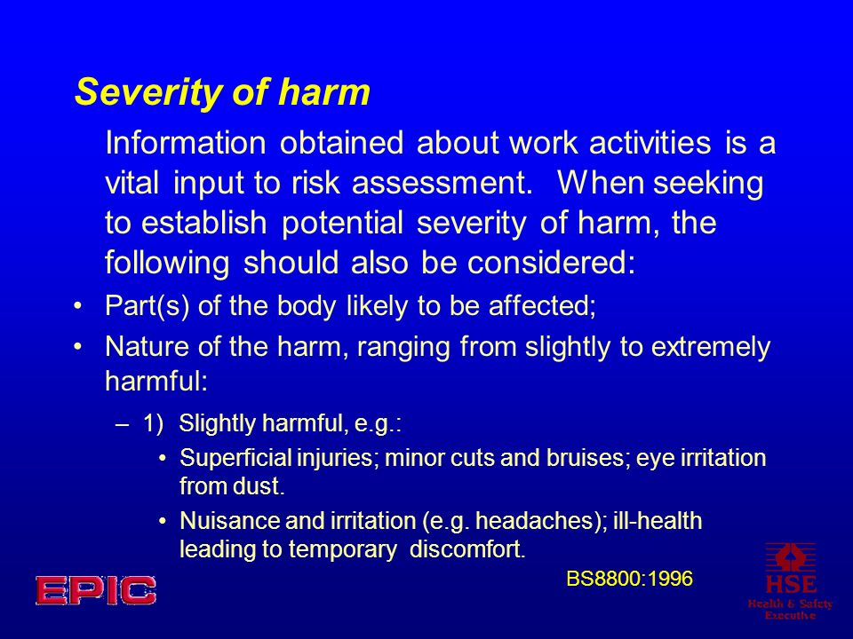 Severity of harm