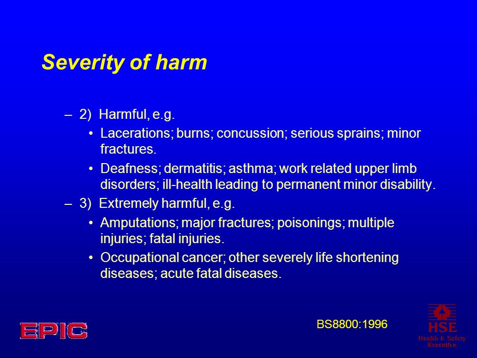 Severity of harm 2) Harmful, e.g.