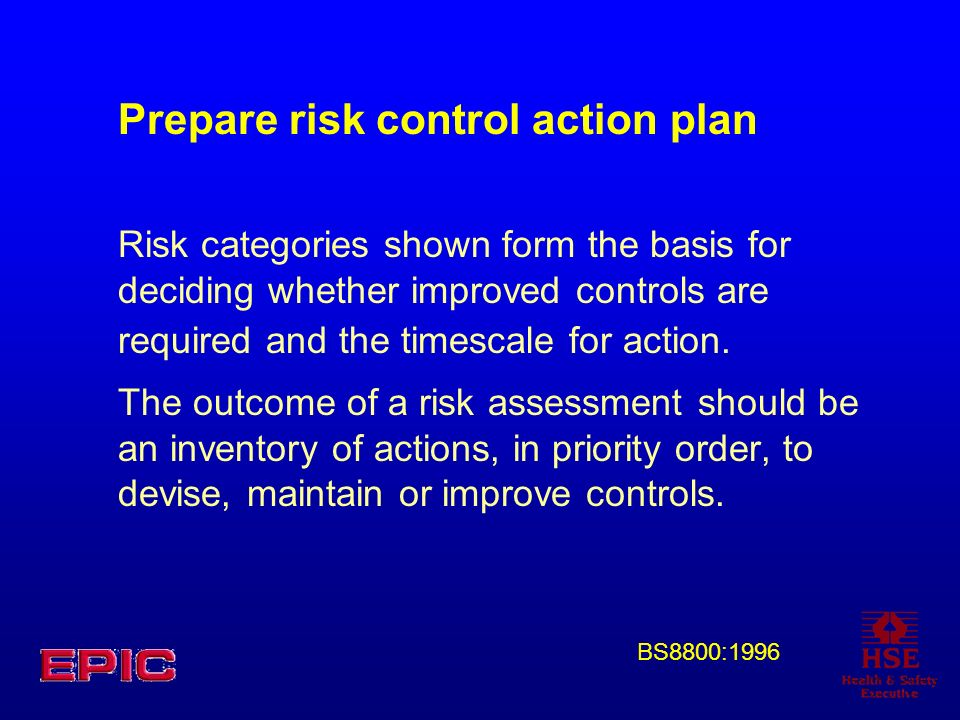 Prepare risk control action plan