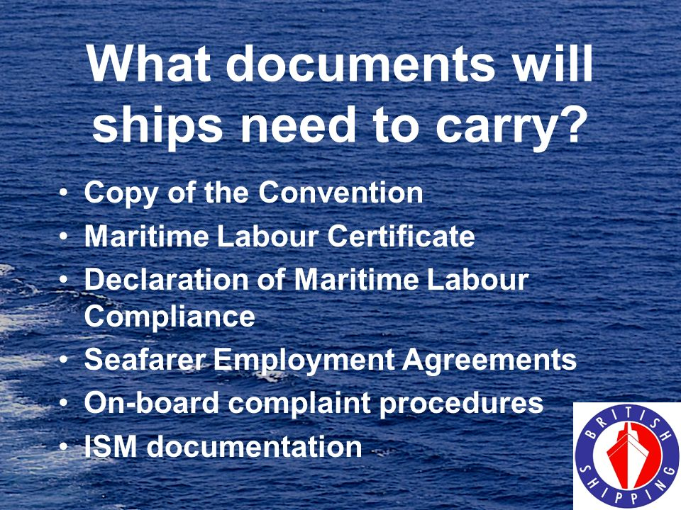 What documents will ships need to carry