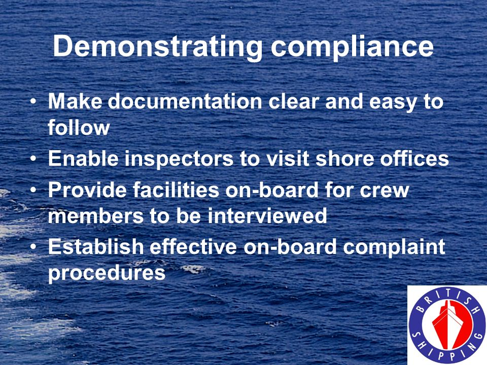 Demonstrating compliance