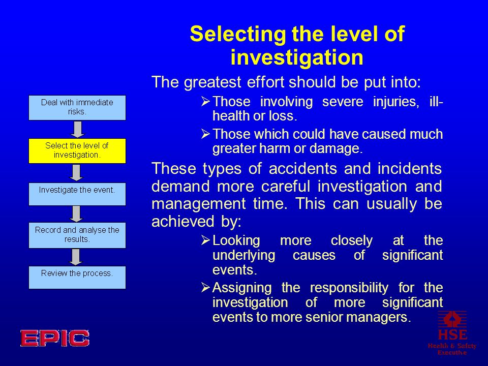 Selecting the level of investigation
