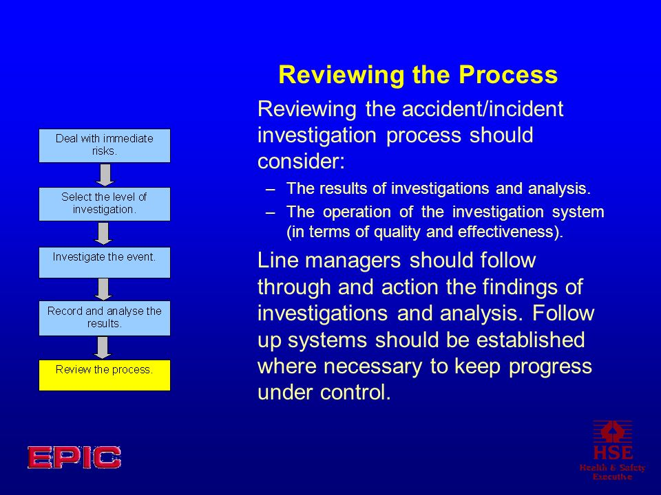 Reviewing the Process Reviewing the accident/incident investigation process should consider: The results of investigations and analysis.