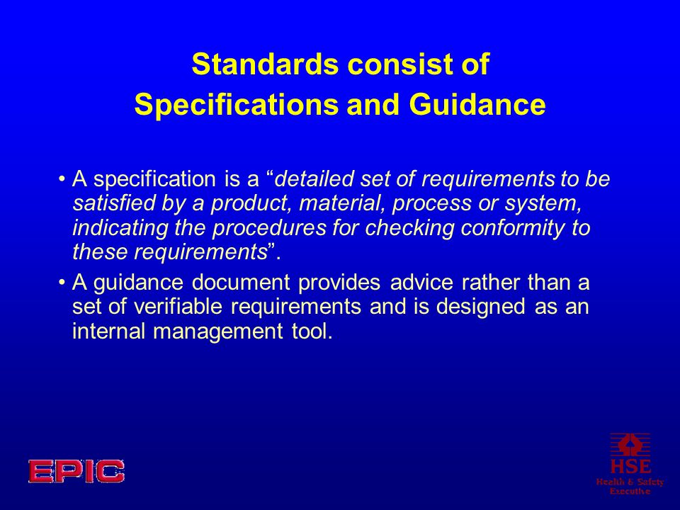 Specifications and Guidance