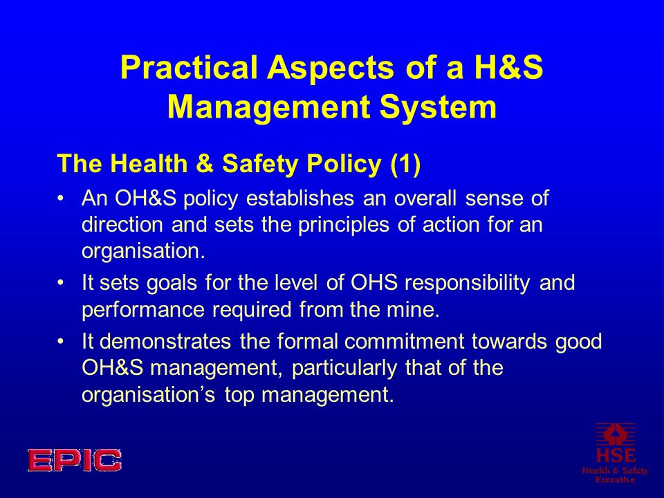 Practical Aspects of a H&S Management System