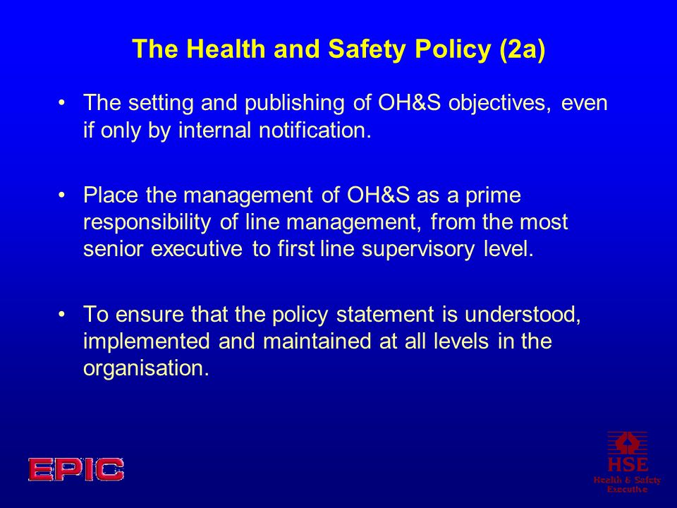 The Health and Safety Policy (2a)