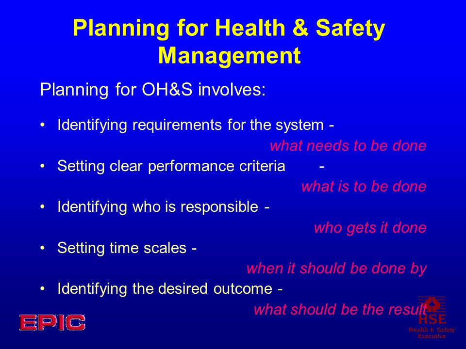 Planning for Health & Safety Management