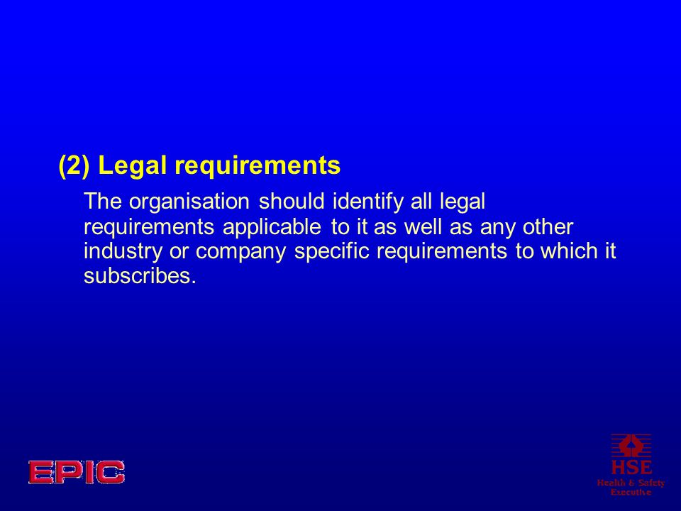 (2) Legal requirements