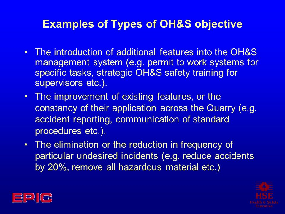 Examples of Types of OH&S objective