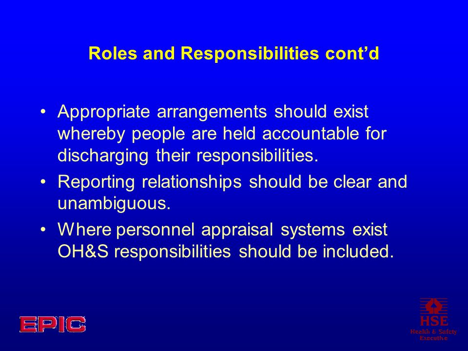 Roles and Responsibilities cont'd