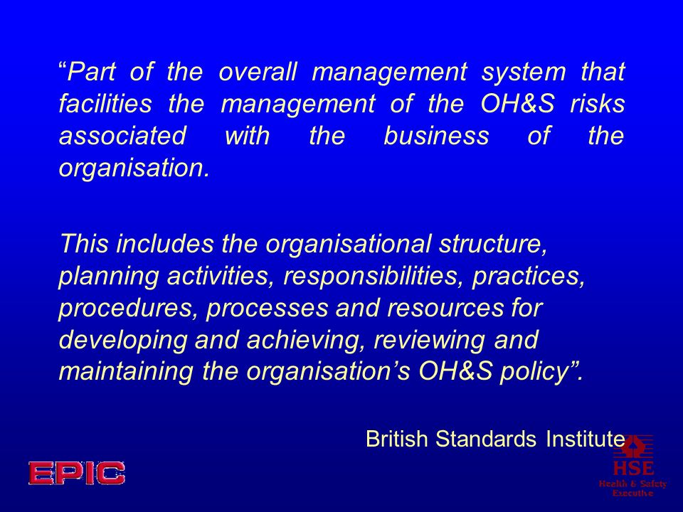 Part of the overall management system that facilities the management of the OH&S risks associated with the business of the organisation.