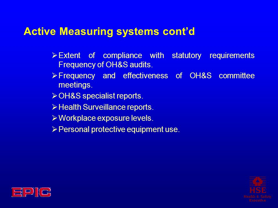 Active Measuring systems cont'd