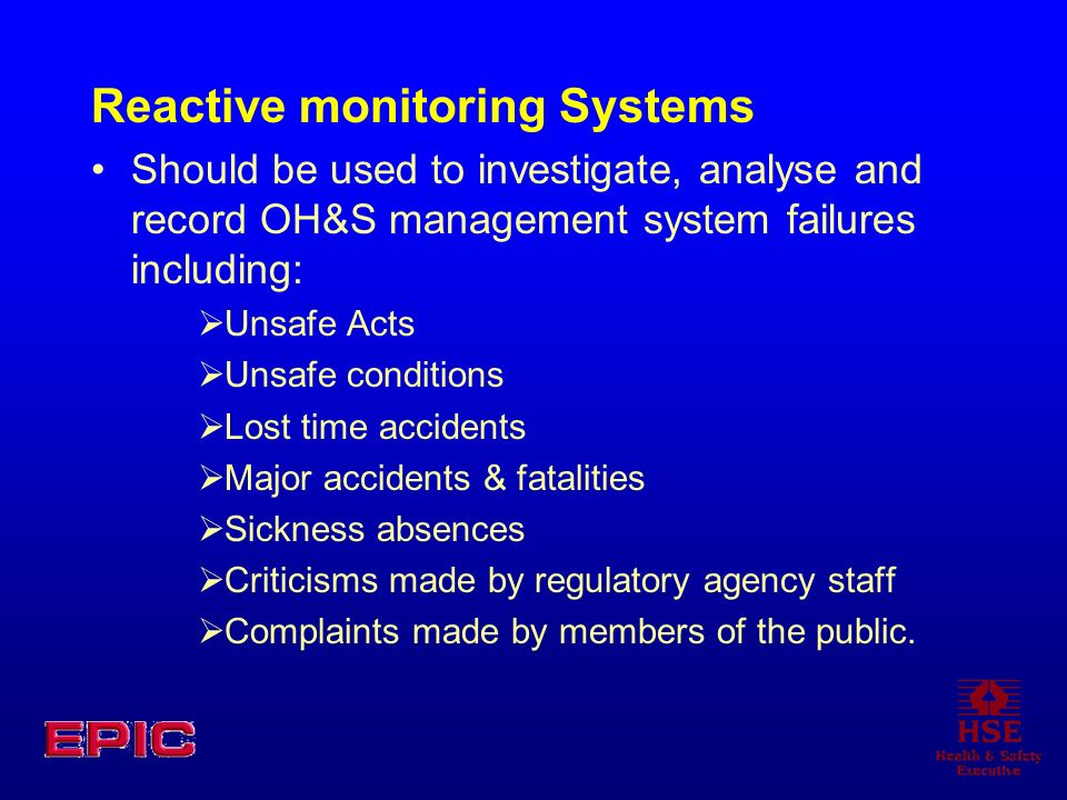 Reactive monitoring Systems