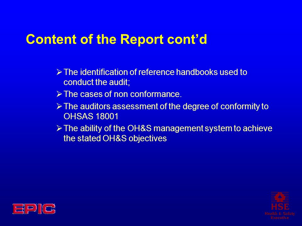Content of the Report cont'd