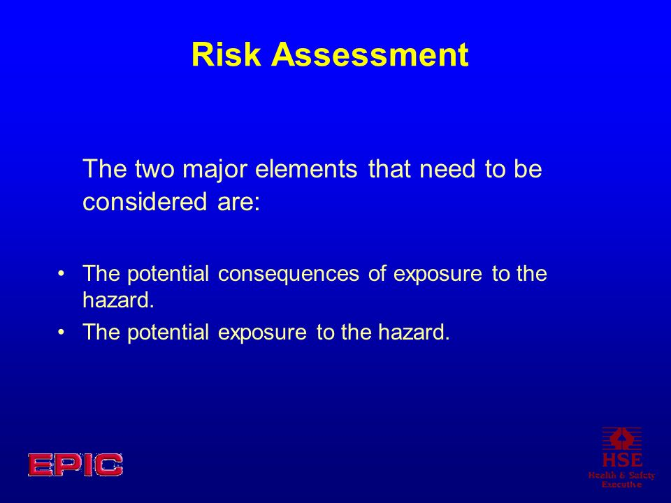 Risk Assessment The two major elements that need to be considered are: