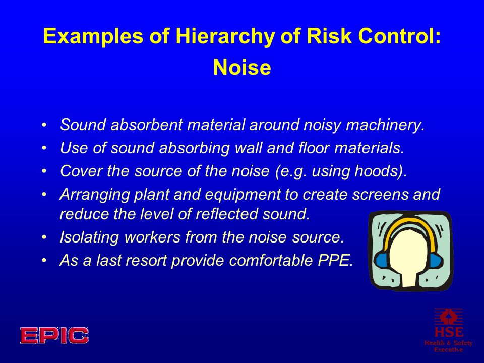 Examples of Hierarchy of Risk Control: