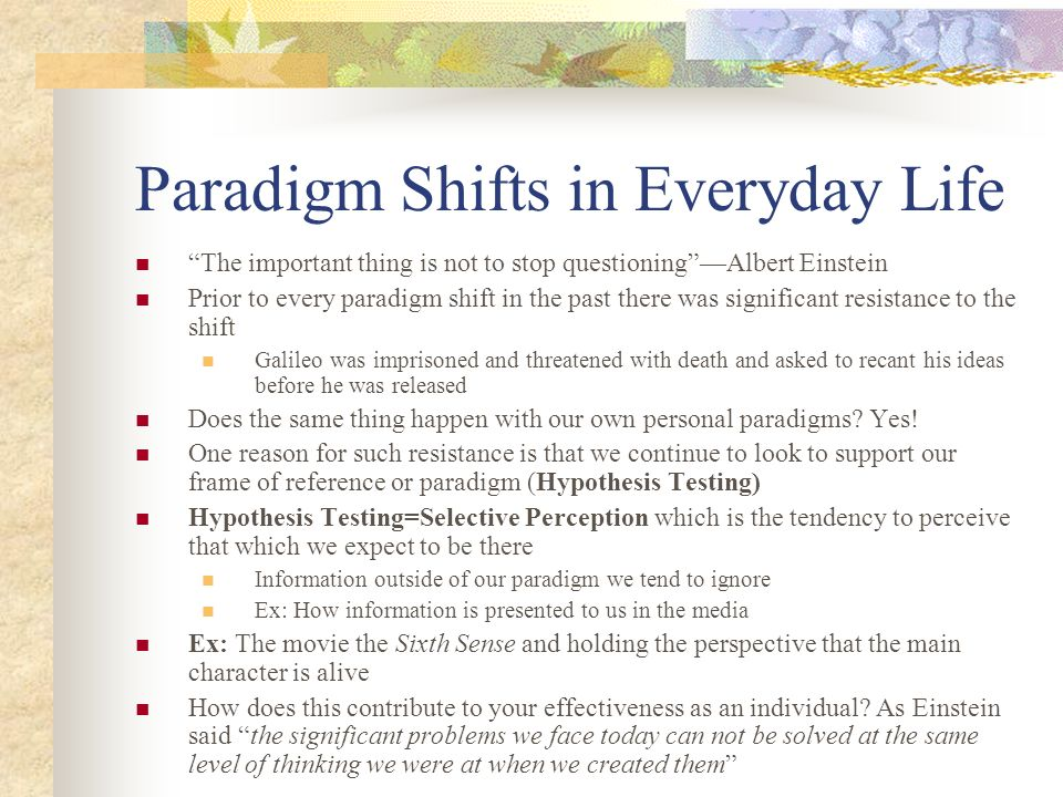Shift Examples In Life