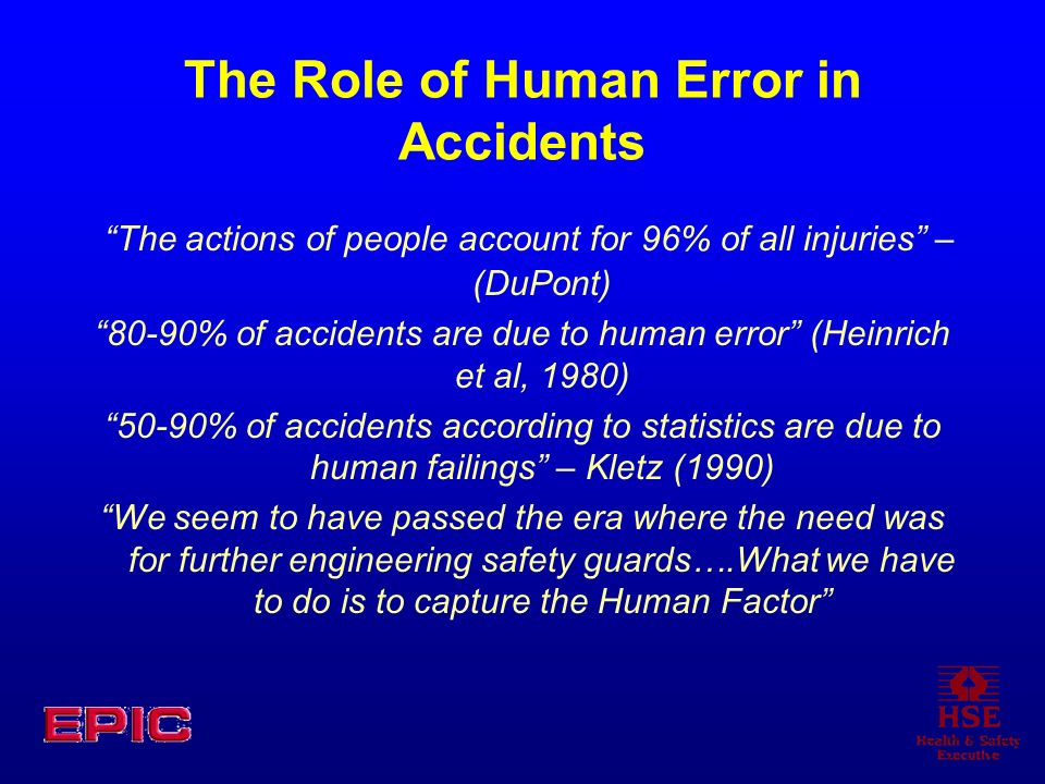 The Role of Human Error in Accidents