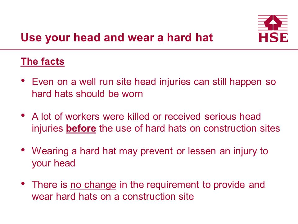 Use your head and wear a hard hat