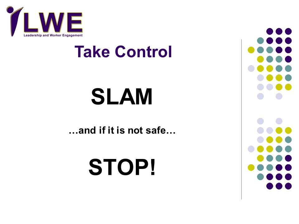 SLAM STOP! Take Control …and if it is not safe… Facilitators Action