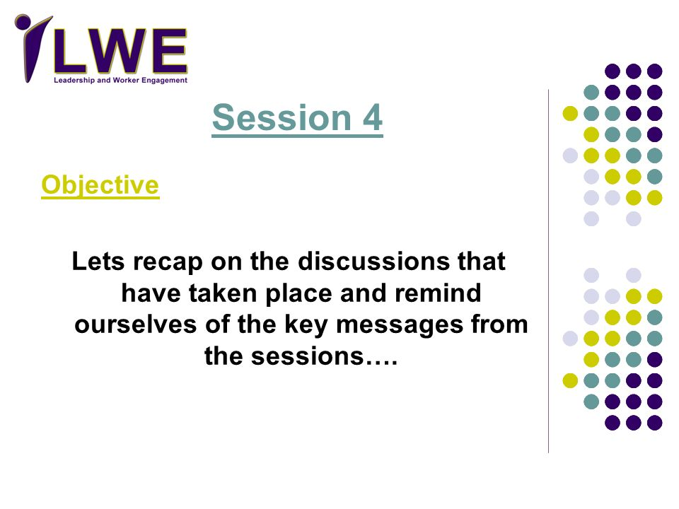Session 4 Objective. Lets recap on the discussions that have taken place and remind ourselves of the key messages from the sessions….