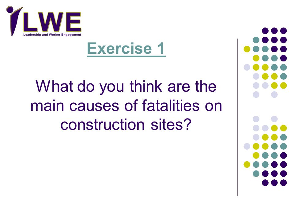 Exercise 1 What do you think are the main causes of fatalities on construction sites