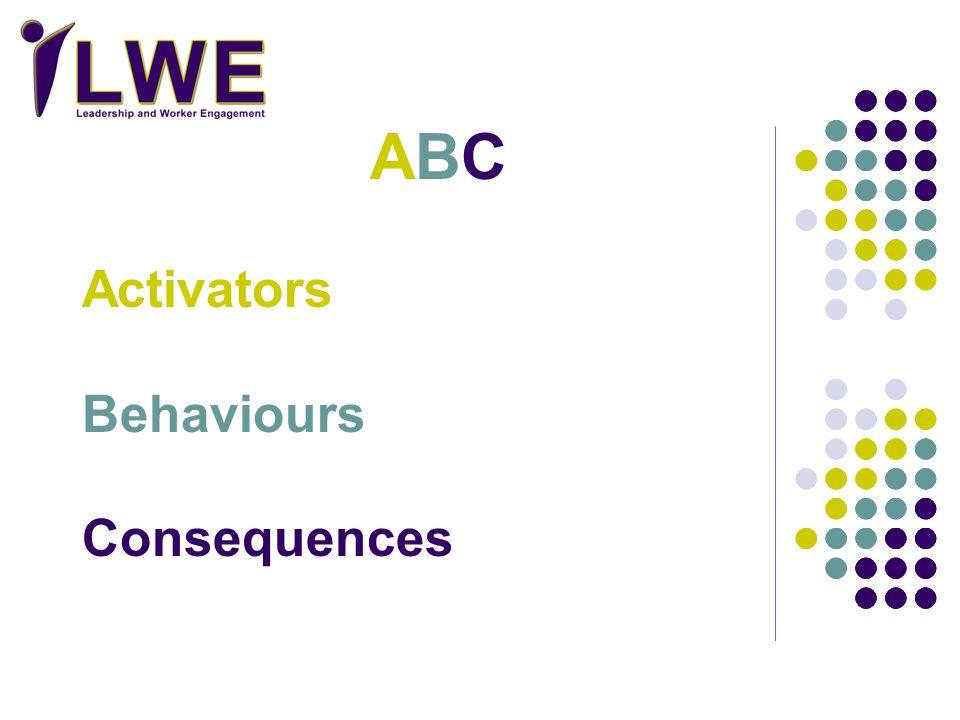 ABC Activators Behaviours Consequences